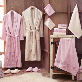 Zara Embroidered Bathrobe and Slippers Off-white And Off-white 14-Piece Set