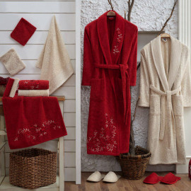 Zara Embroidered Bathrobe and Slippers Off-white And Burgundy 14-Piece Set