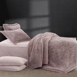 Lila Velvet And fur Winter Bedding  Mauve Single 4-piece Set