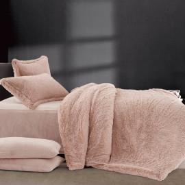 Lila Velvet And fur Winter Bedding  Light Red Single 4-piece Set