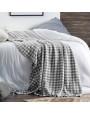 بطانية شال صوف لون أسود و أبيض