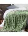 بطانية شال صوف لون أخضر و كريمي