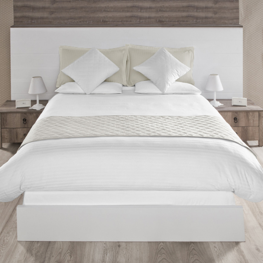 Bed Scarf Double Beige 3-Piece Set