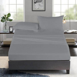 Luxury Flat Sheet set 4 pcs grey