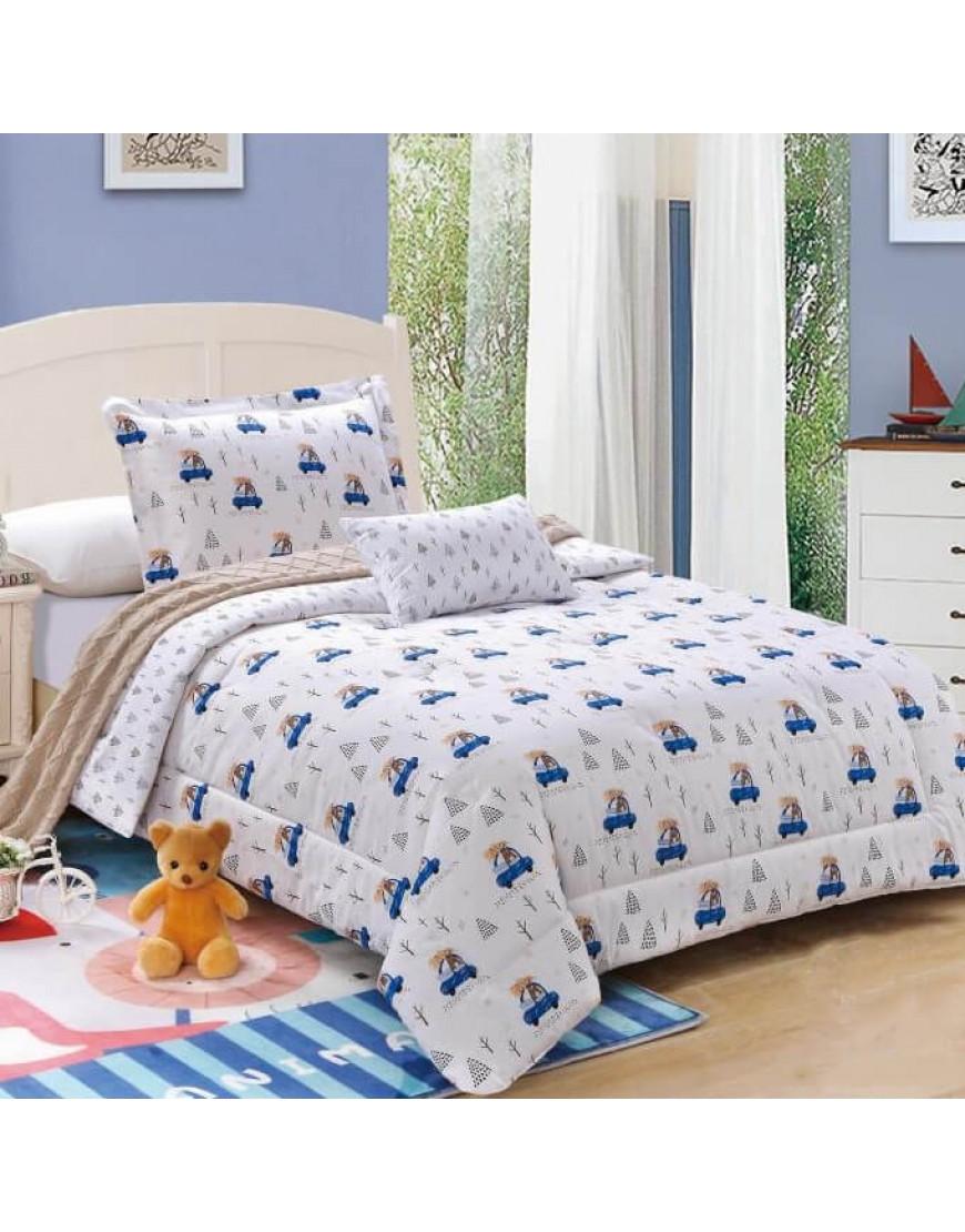 مفرش أستريس أطفال صيفي مفرد أبيض و أزرق عدد القطع 4