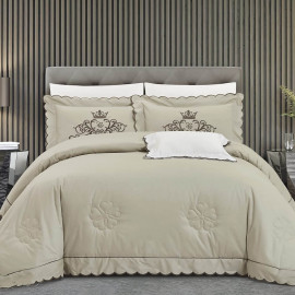 Liverpool Embroidered Summer Bedding Beige Double 7-piece set