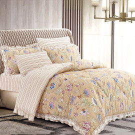 Mily Summer Bedding White Beige Double 6-piece Set