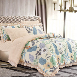 Mily Summer Bedding Cream And Beige Double 6-piece Set