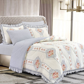 Mily Summer Bedding Cream And Grey Double 6-piece Set
