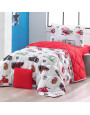 مفرش إسكاي أطفال صيفي مفرد ونص وجهين أبيض و أحمر عدد القطع 4