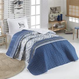 Little King Kids Lightweight Summer Bedding Blue Single 3-piece Quilt Set