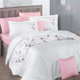Lare Embroidered Summer Bedding White And Light Pink Double 8-piece Set