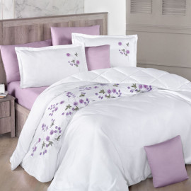 Lare Embroidered Summer Bedding White And Lilac Double 8-piece Set