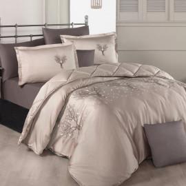 Zena Embroidered Summer Bedding Beige Double 8-piece Set