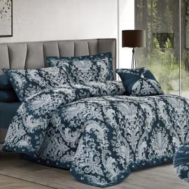 The Summer Embroidered Bedding Dark Blue Double 7-piece Set