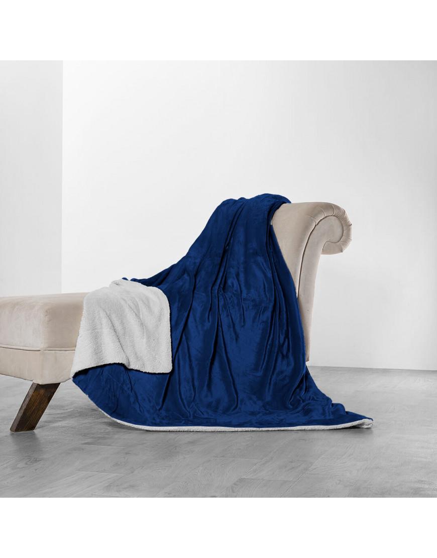 بطانية خفيفة مخمل و فرو مزدوج أزرق غامق