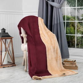 Reversible Ultra-Soft Double Blanket Burgundy 220 x 240 cm
