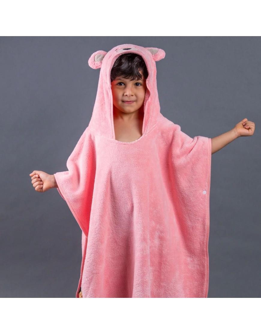 بانشو استحمام أطفال مخملي وردي عمر 3 - 5 سنوات