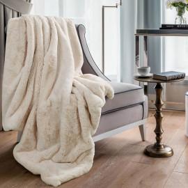 Reversible Plush Single Blanket Cream 150 x 180 cm