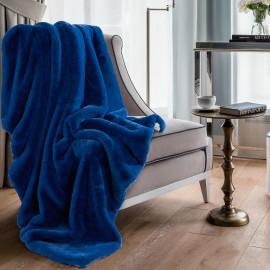 Reversible Plush Single Blanket Dark blue 150 x 180 cm