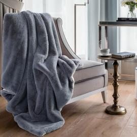 Reversible Plush Single Blanket Grey 150 x 180 cm