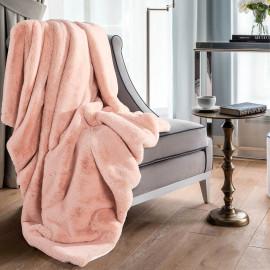 Reversible Plush Single Blanket Peach 150 x 180 cm
