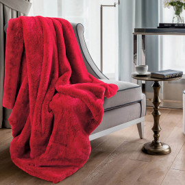 Reversible Plush Single Blanket Red 150 x 180 cm