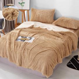 Reviera Fur Double Blanket Beige 220x240 cm  4pieces set