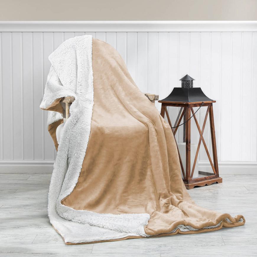 Reversible Plush Double Blanket Beige 220 x 240 cm