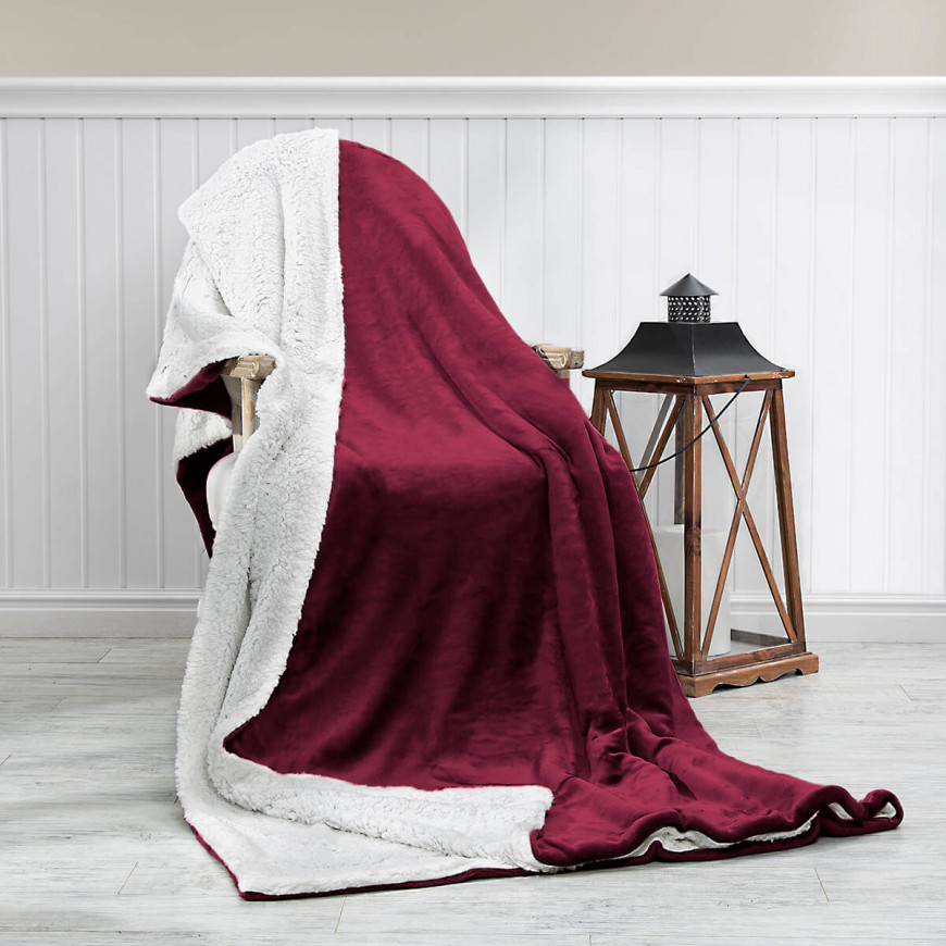 Reversible Plush Double Blanket Burgundy 230 x 180 cm