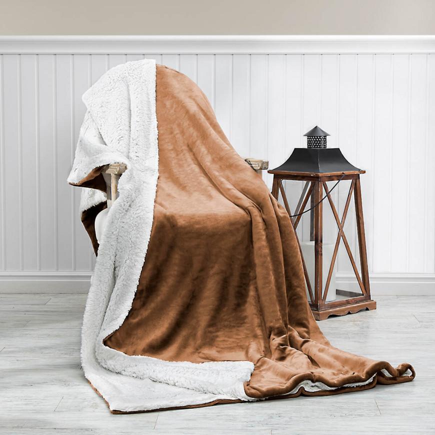 Reversible Plush Double Blanket Dark Beige 220 x 240 cm