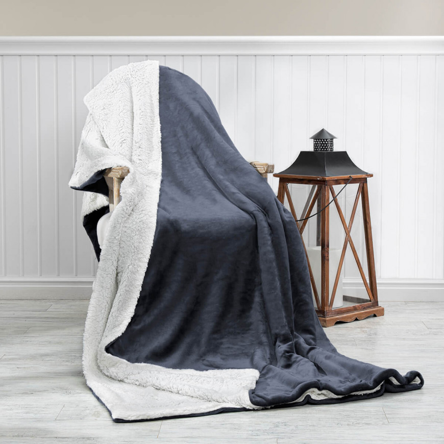 Reversible Plush Double Blanket Dark Grey 230 x 180 cm