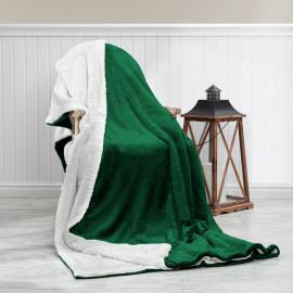 Reversible Plush Double Blanket Green 220 x 240 cm