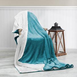 بطانية خفيفة مخمل وفرو مفرد ونص تركواز 180 × 230 سم