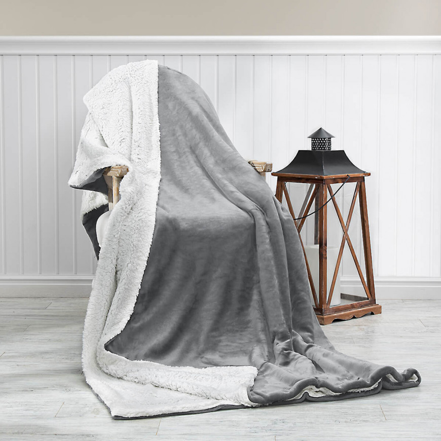 Reversible Plush Double Blanket Grey 230 x 180 cm