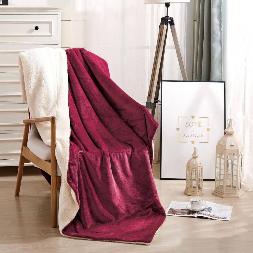 بطانية خفيفة مخمل و فرو مفرد ونص عنابي
