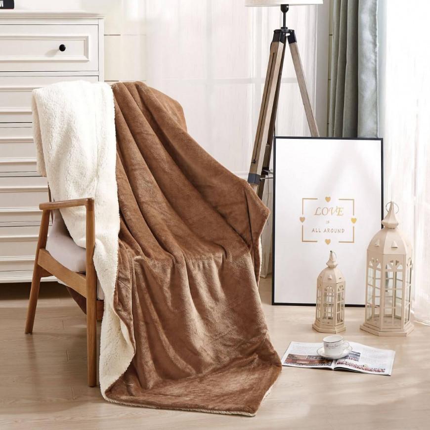 بطانية خفيفة مخمل و فرو مزدوج بيج غامق  220 × 240 سم