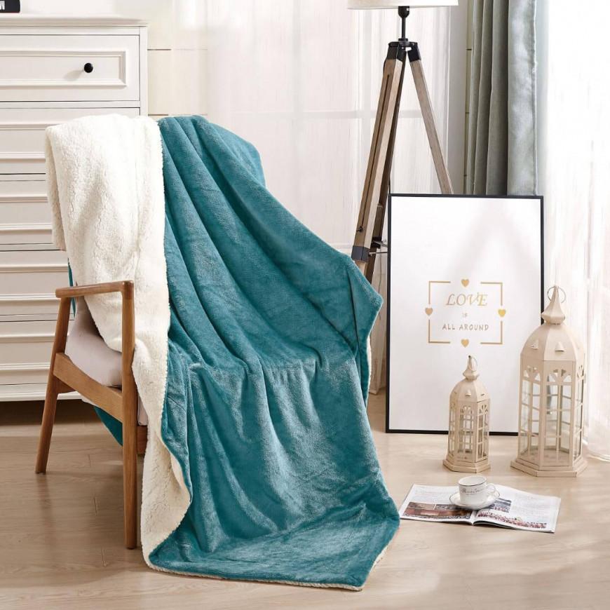 بطانية خفيفة مخمل و فرو مفرد ونص تركواز 180 × 230 سم