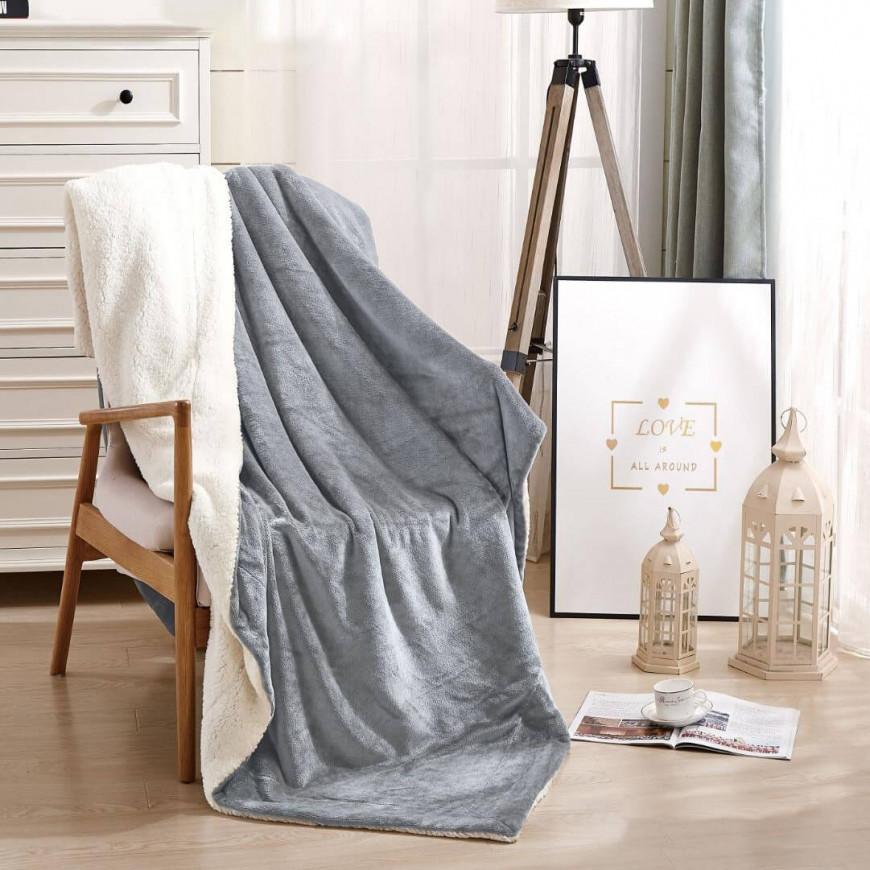 بطانية خفيفة مخمل و فرو مزدوج رصاصي  220 × 240 سم