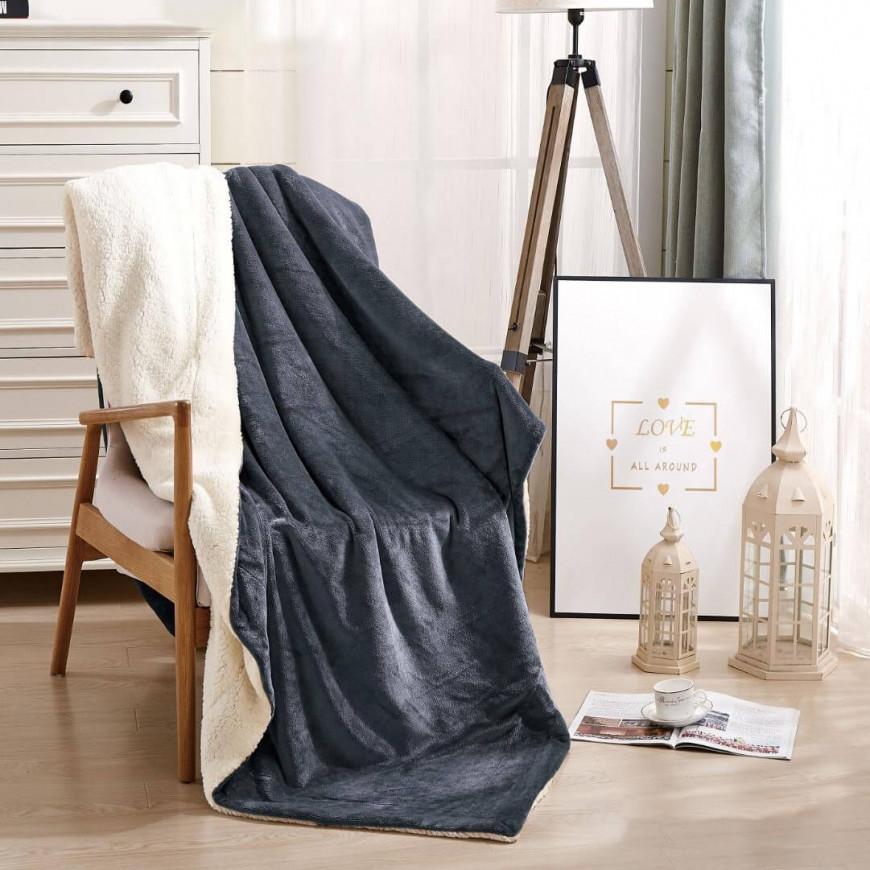 بطانية خفيفة مخمل و فرو مفرد ونص رصاصي غامق