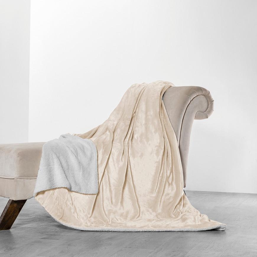 Reversible Plush And Fur Blanket Beige