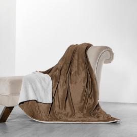 Reversible Plush And Fur Blanket Brown