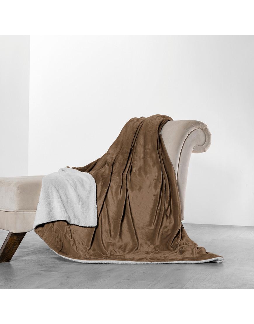 بطانية خفيفة مخمل و فرو مزدوج بني