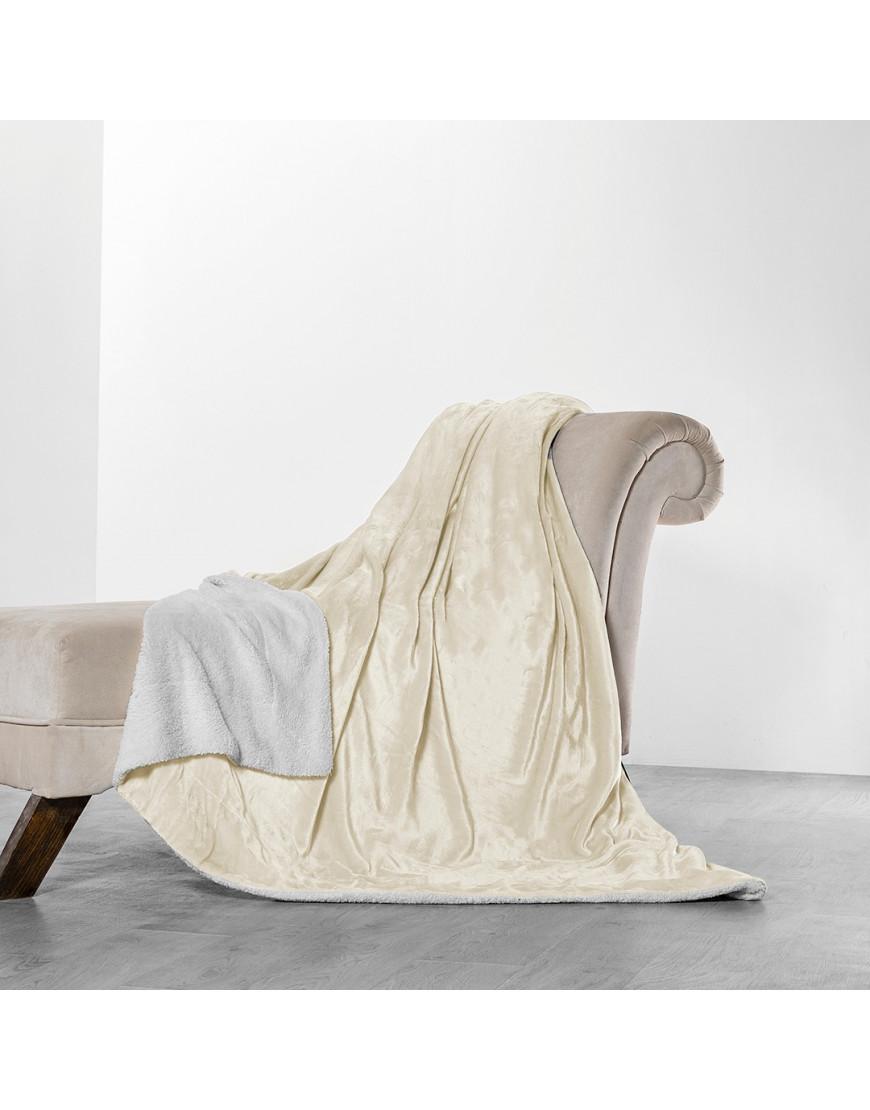 بطانية خفيفة مخمل و فرو مزدوج كريمي