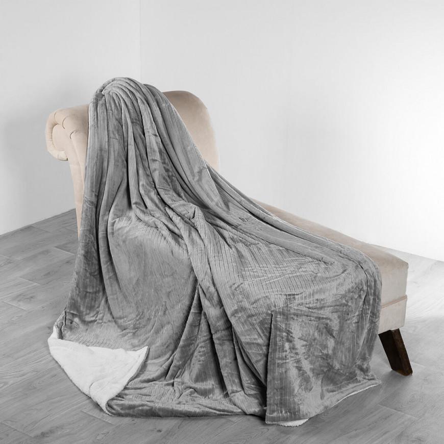 بطانية فيرسو شتوي مفرد ونص مخمل و فرو رصاصي فاتح بدون غطاء وسادة