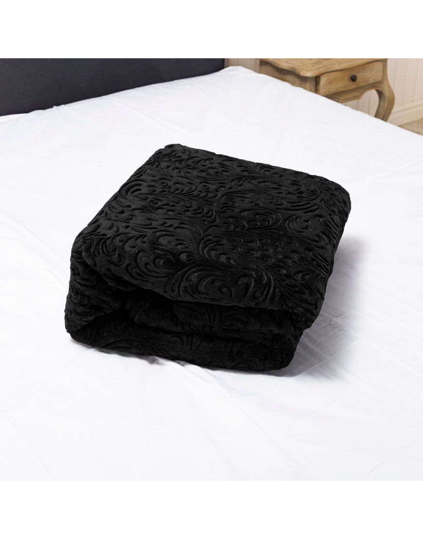 بطانية تركي مفرد ونص ثقيلة مخمل أسود