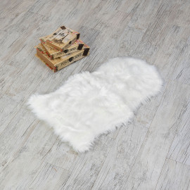 Plain Fur Door Mat White 80x50 cm