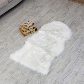 Plain Fur Door Mat White 70x120 cm