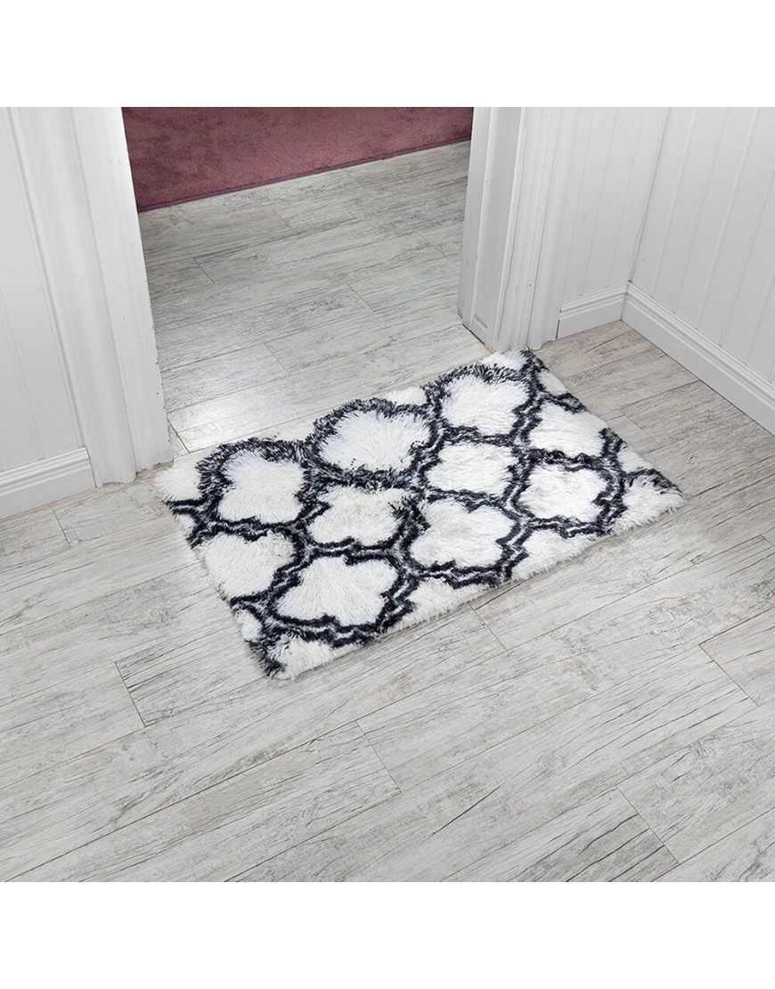 دعاسة أرضية فرو أبيض و أسود 90×60 سم