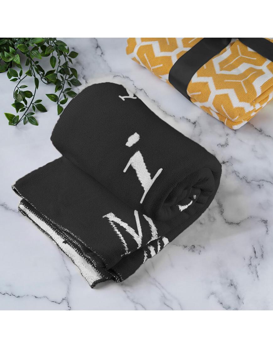 بطانية شال صوف لون أسود رسومات حروف